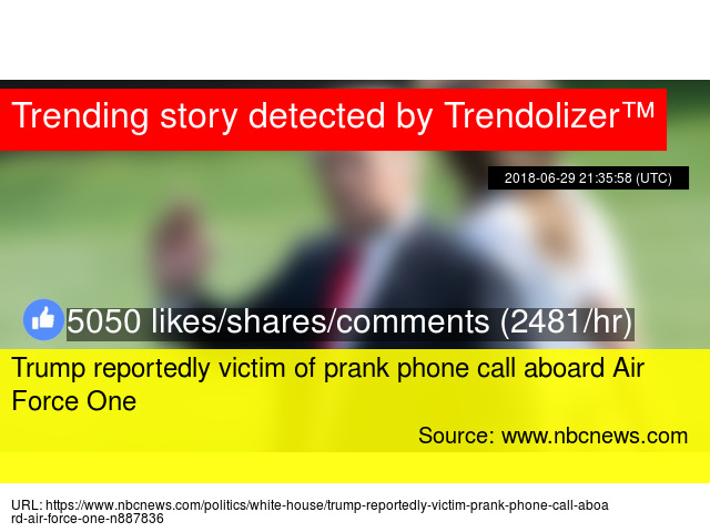 Trump reportedly victim of prank phone call aboard Air Force One
